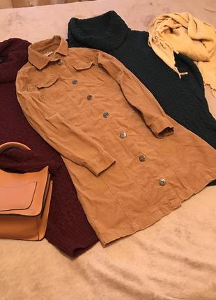 Платье рубашка рубчик вельветовое бежевое карманами пуговицах