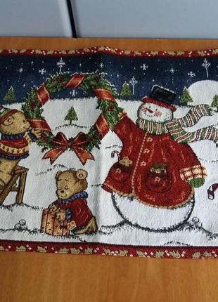 """Гобеленовая салфетка-подкладка под тарелку  из серии """"зима"""""""