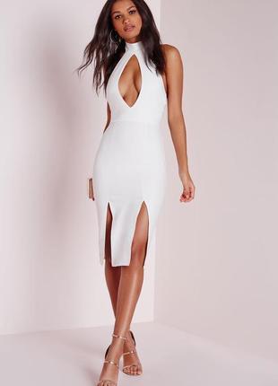 Стильное платье миди с чокером и разрезами missguided ms702