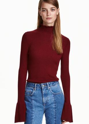 Ребристый пуловер лонгслив брендовая кофта h&m