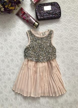 Next нарядное  пудровое платье с пайетками на 3 года , рост 98