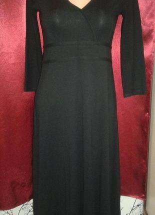 Черное длинное платье вискоза