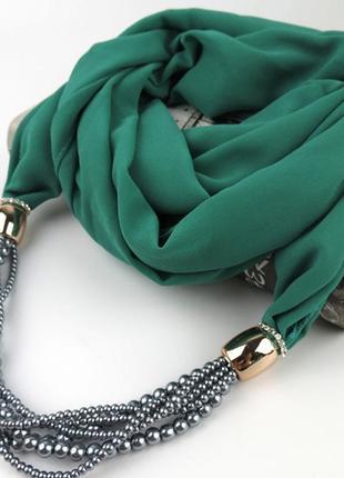Шарф-платок женский runmeifa sw800 с подвесным ожерельем - бусами, зеленый