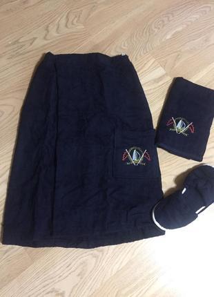 Набор мужской для сауны : юбка (килт), полотенце и тапочки