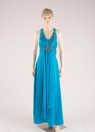 Голубое длинное нарядное выпускное платье с открытой спиной m/l