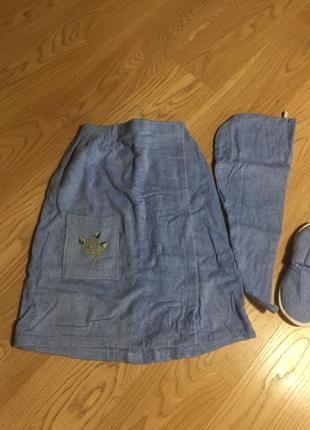 Женский махровый набор для сауны бани: юбка, чалма и тапочки