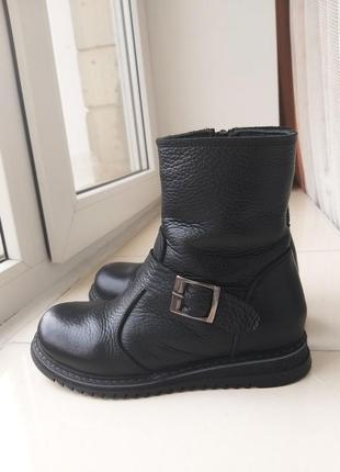 30 р зимние натуральные кожаные сапоги 19 см