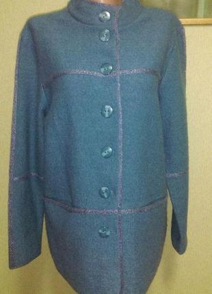 Шикарный шерстяной жакет пиджак кардиган полу пальто цвета морской волны пог 53