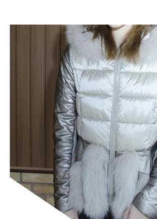 Зимняя оригинальная курточка с натуральным мехом кролика