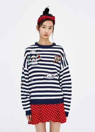 Полосатый/в полоску свитер с нашивками pull&bear новый оверсайз s-l