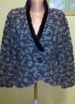 Красивый теплый жакет пиджак кардиган болеро накидка шерсть в составе