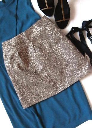 Стильная золотистая юбка, юбка парча, жаккард