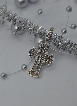 Серебряный #крест, #крестик, #белые камни, #распятие, #925