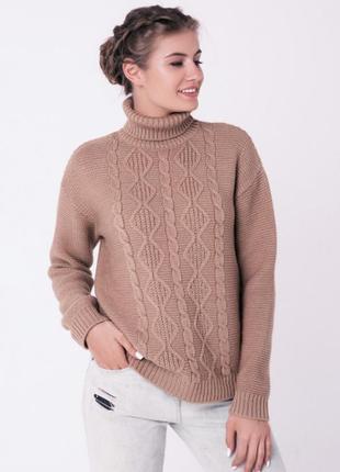 Тёплый зимний свитер цвета кемел от sewel