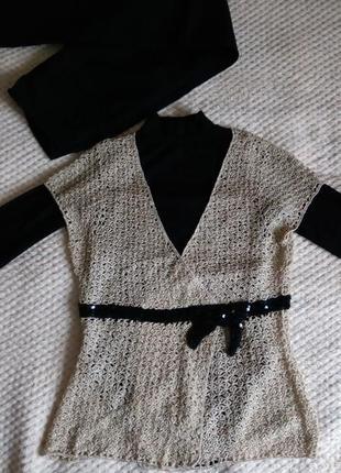 Вязаная  нарядная блуза