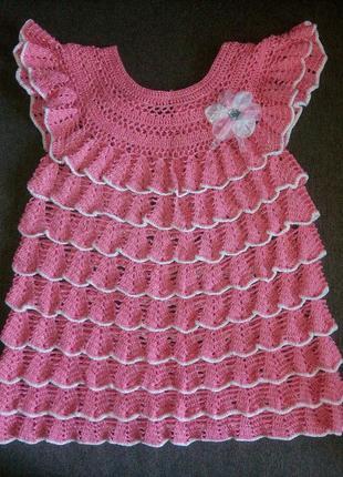 Новое вязаное крючком ажурное платье, сарафан