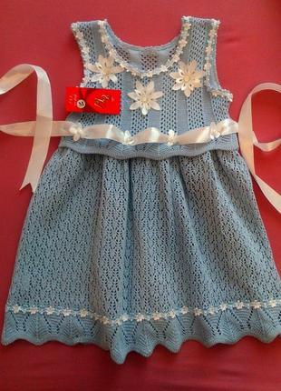 Новое вязаное крючком ажурное платье сарафан