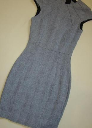 Классическое серое деловое платье/платье в офис институт школу  h&m xs