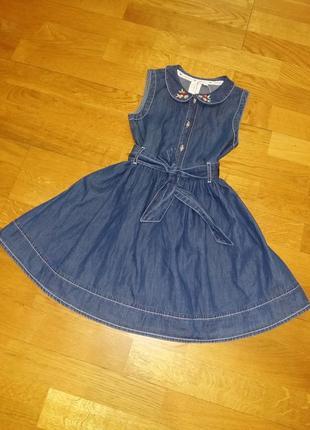 Джинсовое пышное платье jasper conran с поясом на 3-4 года