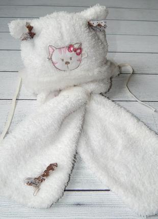 Зимняя теплая шапка, шапочка и шарфик бемби, для девочки. 42 размер.