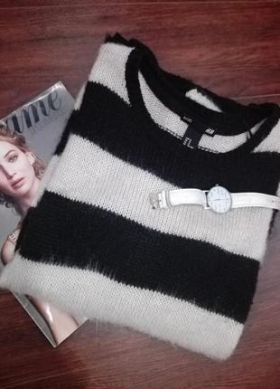 Отличный джемпер свитер пуловер мягусенький полосатый h&m