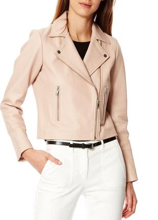 Тренд новая. 100% кожа. куртка косуха caroll франция пудра eu38, 40, 42