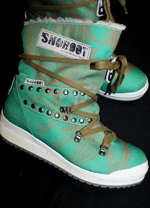 39 разм. зима. сапоги snow boots 100 % шерсть внутри. не промокают