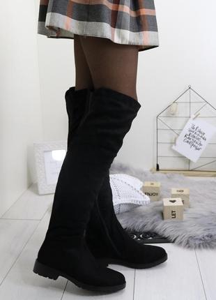 Новые черные зимние замшевые сапоги ботфорты размер 36-41