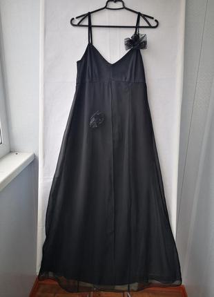 Нарядное черное шифоновое платье