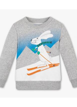 Новый утепленный серый свитшот для мальчика с принтом кролика, c&a, 2022171