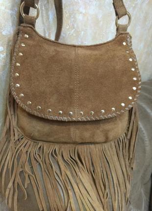 Модная кожаная сумка на плечо f&f с бахромой