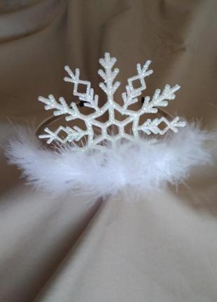 Корона снежинка №1. новогоднее украшение на волосы