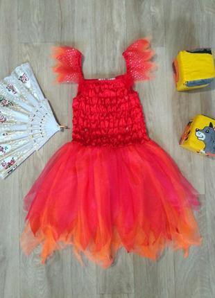 Яркое карнавальное новогоднее платье от george, 5-6 лет