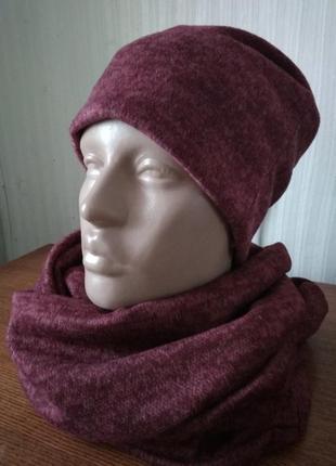 Новый теплый трикотажный комплект шапка+ снуд, разные цвета