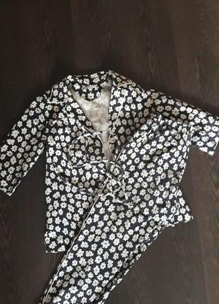 Дизайнерский костюм в пижамном стиле, натуральный состав, р. xs/s