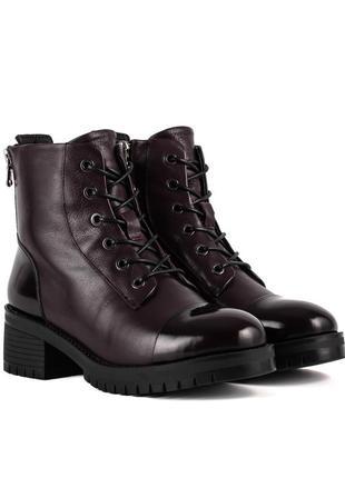 1121ц женские ботинки на шнурке anemone,кожаные,на танкетке,на низком ходу,на каблуке