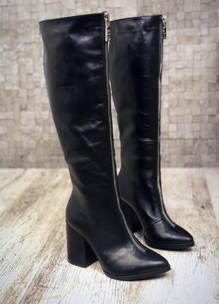 Рр 36-40 зима натуральная кожа люксовые черные высокие сапоги на каблуке