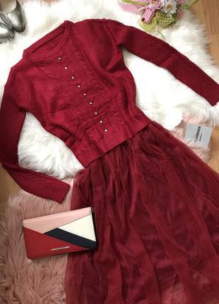 Новое комбинированное платье верх вязка юбка фатин