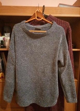 Шикарный новогодний свитер травка серебряный