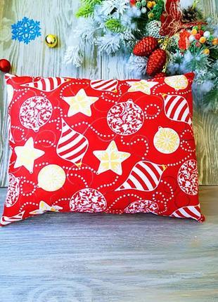 Подушка новогодняя красная желтые глитерные гирлянды прямоугольная