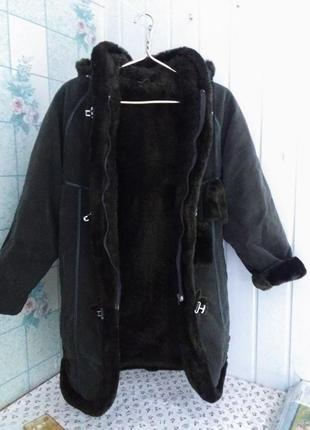 Искусственная дублёнка дублянка пальто на меху зима