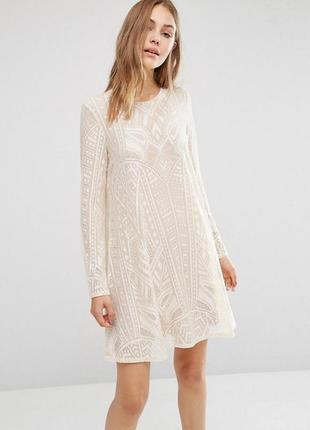 Дизайнерское элитное платье трапеция с кружевом bcbg max azria a1116