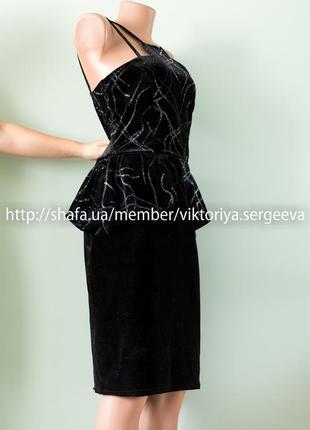 Большой выбор платьев - безумно красивое бархатное платье миди двойные бретели, баска