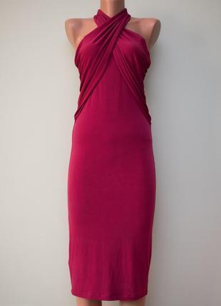 Большой выбор платьев - красивое бордовое интересное платье миди