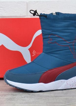 Дутики puma trinomic спортивные зимние сапоги ярко-синие с красным с кулисой