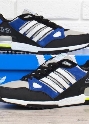 Кроссовки adidas zx 750 мужские зимние кожаные на меху черные с синим