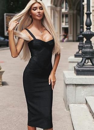Шикарное бандажное платье миди облегающее herve leger черное по фигуре