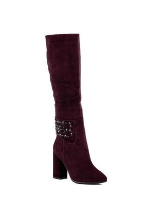 1083ц женские сапоги brocoli,замшевые,на толстом каблуке,с острым носком,на каблуке