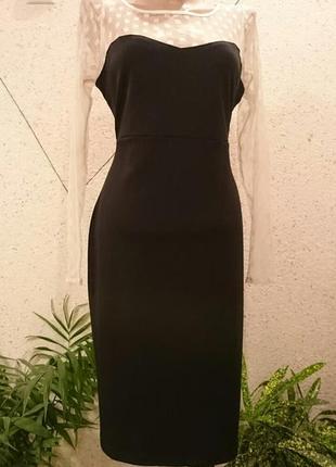 Платье футляр с кружевным верхом и рукавами1