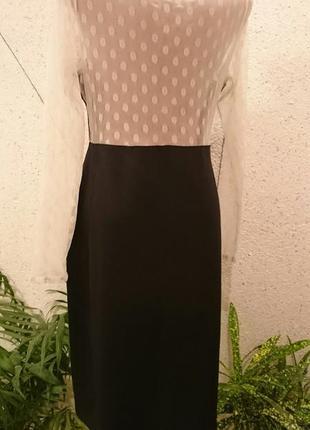 Платье футляр с кружевным верхом и рукавами3
